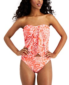 Draped Printed Tankini Top & Reversible High-Leg Bikini Bottoms