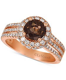 Chocolate Smoky Quartz (1-1/3 ct. t.w.) & Nude Diamond (1-1/10 ct. t.w.) Statement Ring in 14k Rose Gold
