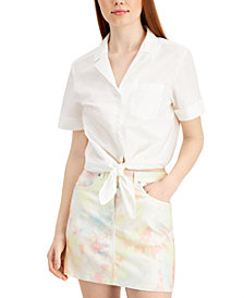 French Connection Rhodes Cotton Tie-Front Blouse