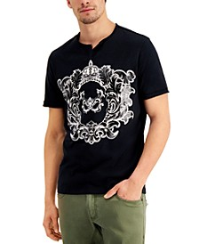 INC Men's Metallic Graphic Split-Neck T-Shirt, Created for Macy's