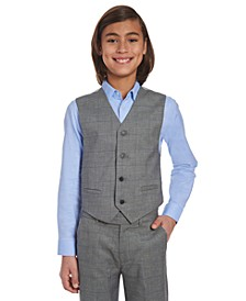 Big Boys Stretch Gray Windowpane Sharkskin Suit Vest