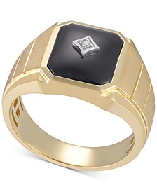 Men's Onyx (12 x 10mm) & Diamond Accent Ring in 10k Gold