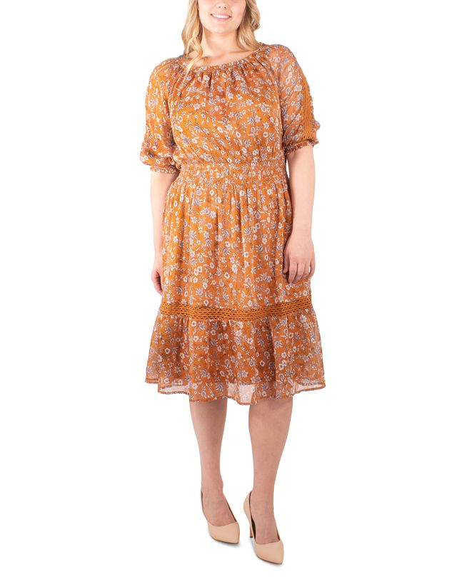 NY Collection Plus Size Printed Crochet-Trim Peasant Dress