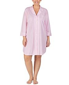 Plus Size Striped Jersey Knit Sleep Shirt Nightgown