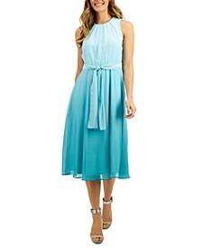 Ombré Chiffon Belted Midi Dress