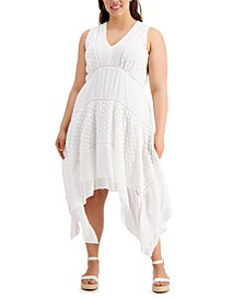 Plus Size V-Neck Lace Maxi Dress