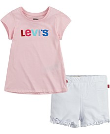 Little Girls 2-Pc. Logo-Print T-Shirt & Ruffle-Hem Shorts Set