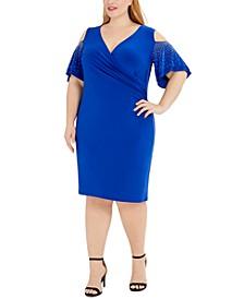Plus Size Embellished Cold-Shoulder Sheath Dress