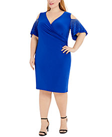 MSK Plus Size Embellished Cold-Shoulder Sheath Dress