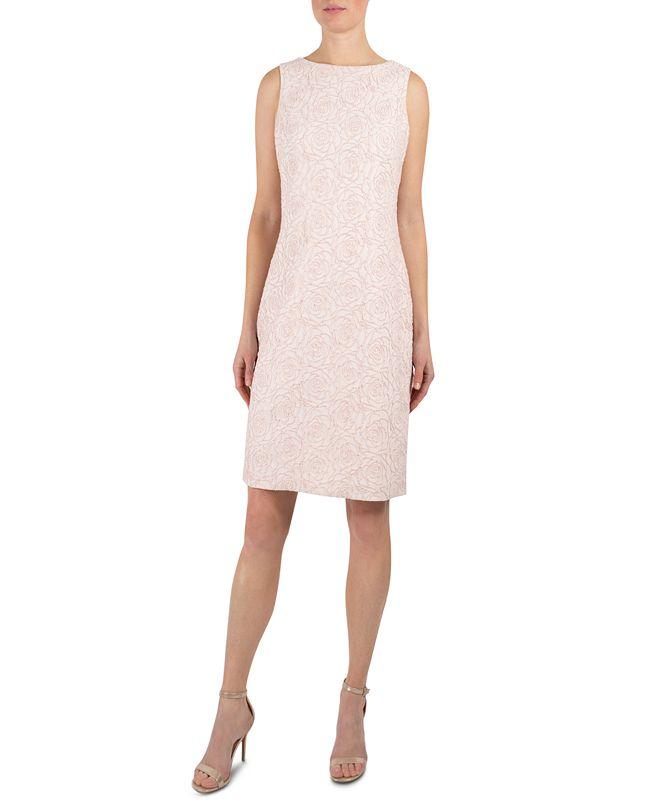 Donna Ricco Metallic-Jacquard Sheath Dress