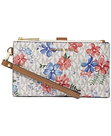 Jet Set Double Zip Signature Floral Wristlet