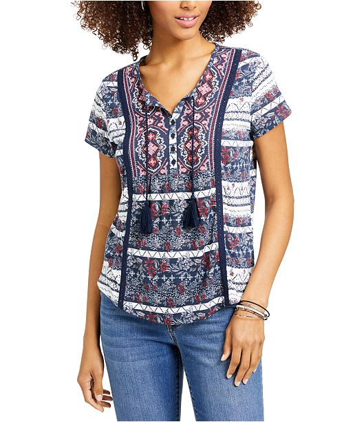 Style & Co Plus Size American Picnic Mixed-Print Top, Created for Macy's