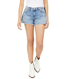 High-Rise Ripped Denim Shorts