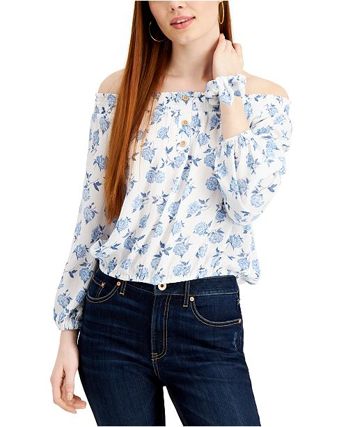 Vanilla Star Juniors' Floral-Print Off-The-Shoulder Top