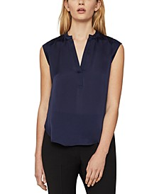 Pintucked Satin Top