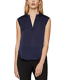 BCBGMAXAZRIA Pintucked Satin Top