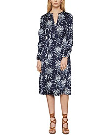 Floral-Print Satin Wrap Dress