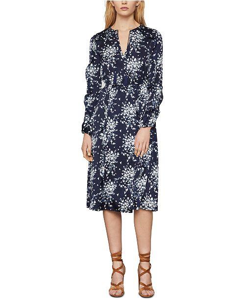 BCBGMAXAZRIA Floral-Print Satin Wrap Dress