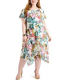 Plus Size Flutter-Sleeve Midi Dress