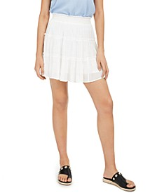 Juniors' Tiered Gauze Mini Skirt