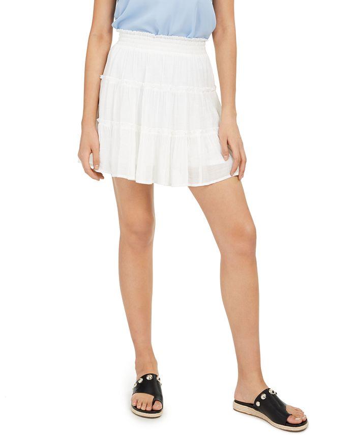 BCX - Juniors' Tiered Gauze Mini Skirt