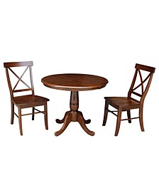 """36"""" Round Top Pedestal Ext Table with 12"""" Leaf and 2 X-Back Chairs"""
