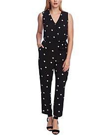Dot-Print Belted Jumpsuit