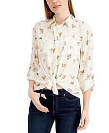 Juniors' Floral Tie-Front Shirt