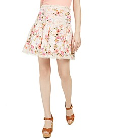 Nina Printed Cotton Eyelet Skirt