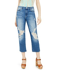 Ripped Straight-Crop Jeans