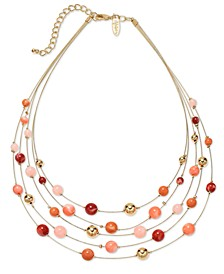 "Gold-Tone Beaded Multi-Row Statement Necklace, 18"" + 3"" extender, Created for Macy's"