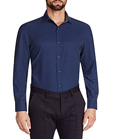Men's Slim-Fit No-Iron Performance Stretch Navy Dot Print Dress Shirt