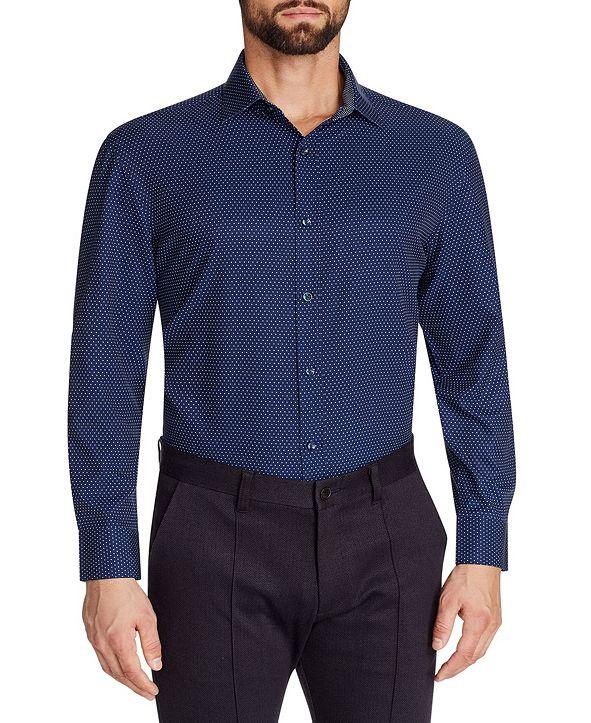 Tallia Men's Slim-Fit No-Iron Performance Stretch Navy Dot Print Dress Shirt