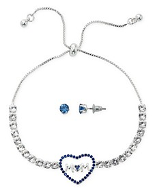 Fine Silver Plate Cubic Zirconia Adjustable Bolo Mom in Heart Bracelet and Stud Earring Set