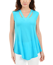 JM Collection Embellished Cutout Tank Top, Created for Macy's