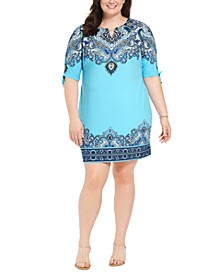 Plus Size Hardware-Trim Ruched-Sleeve Dress