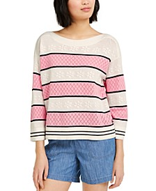 Pointelle Colorblocked Sweater