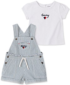 Baby Girls Denim Shortall with Heart Top