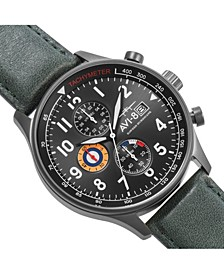 Men's Hawker Hurricane Chronograph Dark Green Genuine Leather Strap Watch 42mm
