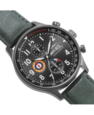 Men's Hawker Hurricane Chronograph Dark Green Genuine Leather Strap Watch 42mm
