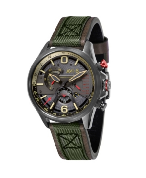 Men's Hawker Harrier Ii Chronograph Retrograde Edition Army Green Genuine Leather and Nylon Strap Watch 45mm