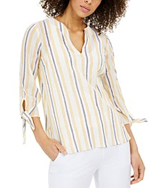 Petite Metallic-Striped Tie-Sleeve Top