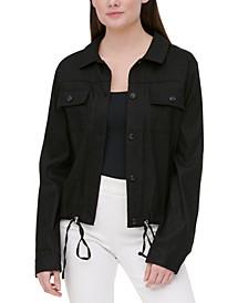 Drawstring-Waist Linen Jacket