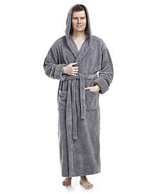 Men's Soft Fleece Robe, Ankle Length Hooded Turkish Bathrobe