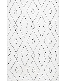 Kazbar Lauren Lattice White 4' x 6' Area Rug