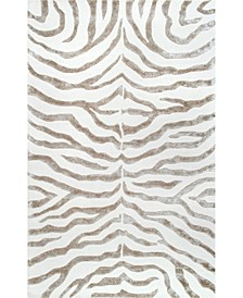 "Feral Hand Tufted Plush Zebra Gray 7'6"" x 9'6"" Area Rug"