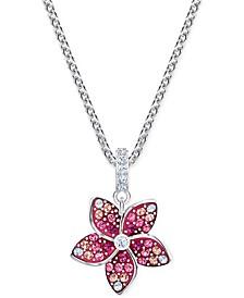 "Silver-Tone Tropical Flower Pendant Necklace, 14-7/8"" + 2"" extender"
