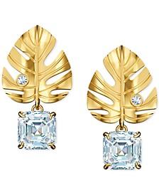 Gold-Tone Crystal Leaf Stud Earrings