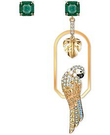 Gold-Tone Tropical Parrot & Green Stone Drop Earrings
