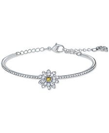 Silver-Tone Eternal Flower Bangle Bracelet